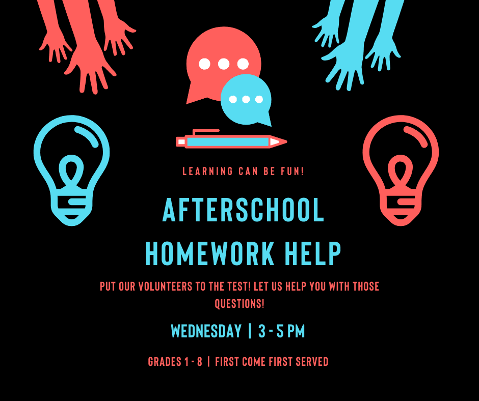 homework help wednesdays 3 - 5 pm