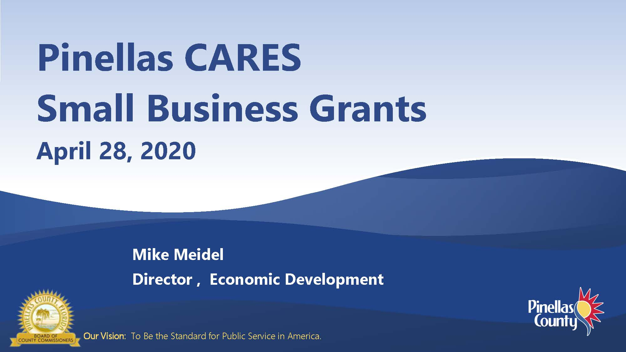 Pinellas CARES Small Business Grants 4-28-20 Mike Meidel, Director, Economic Development