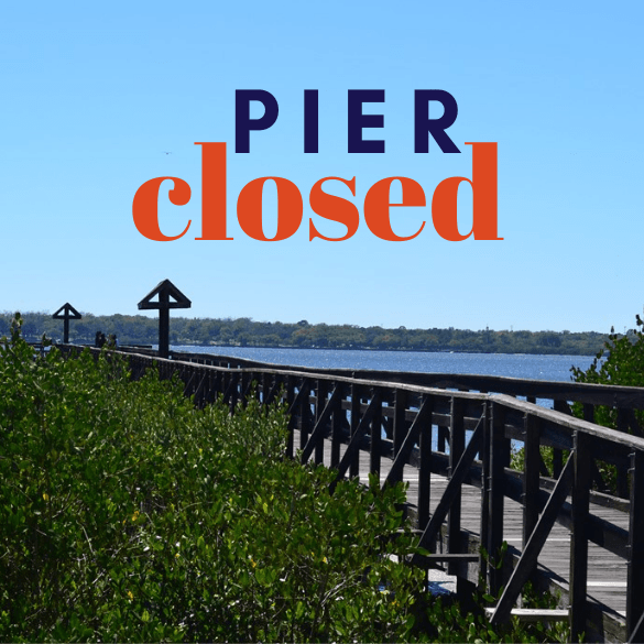 Pier Closed Oldsmar Pier on the water with mangroves