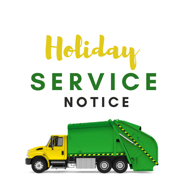 holiday service notice with garbage truck