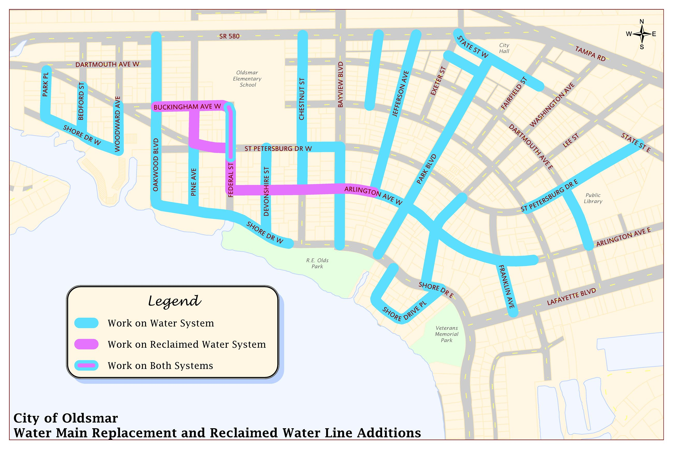 Downtown Watermain Map Oldsmar Public Works