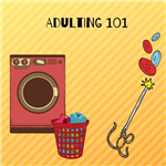 clip art of a washing machine, clothes basket, needle and buttons