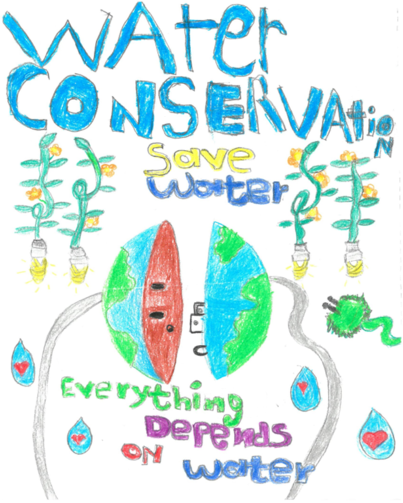 "Caption ""water conservation save water everything depends on water with picture of plants, rain d"