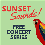 Sunset Sounds Logo with Parrot for October Free Concert Series