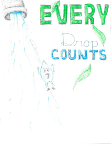 Caption says Every drop counts with a drop of water flowing.